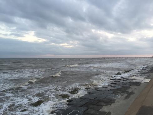 Galveston Seawall at Sunset